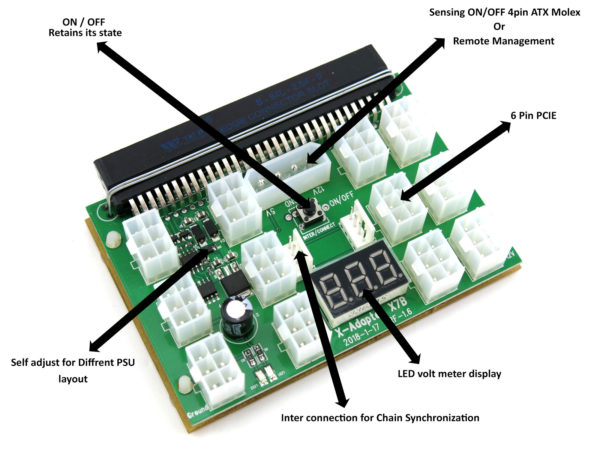 X7BBRK 12 port breakout board adapter for server power supplies