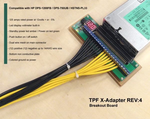 X-Adapter Rev:4 compatible with HP 1200 watt DPS-1200FB