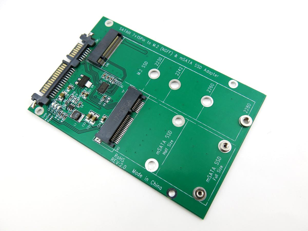 Universal M.2 (NGFF) & mSATA SSD Adapter Converter ...